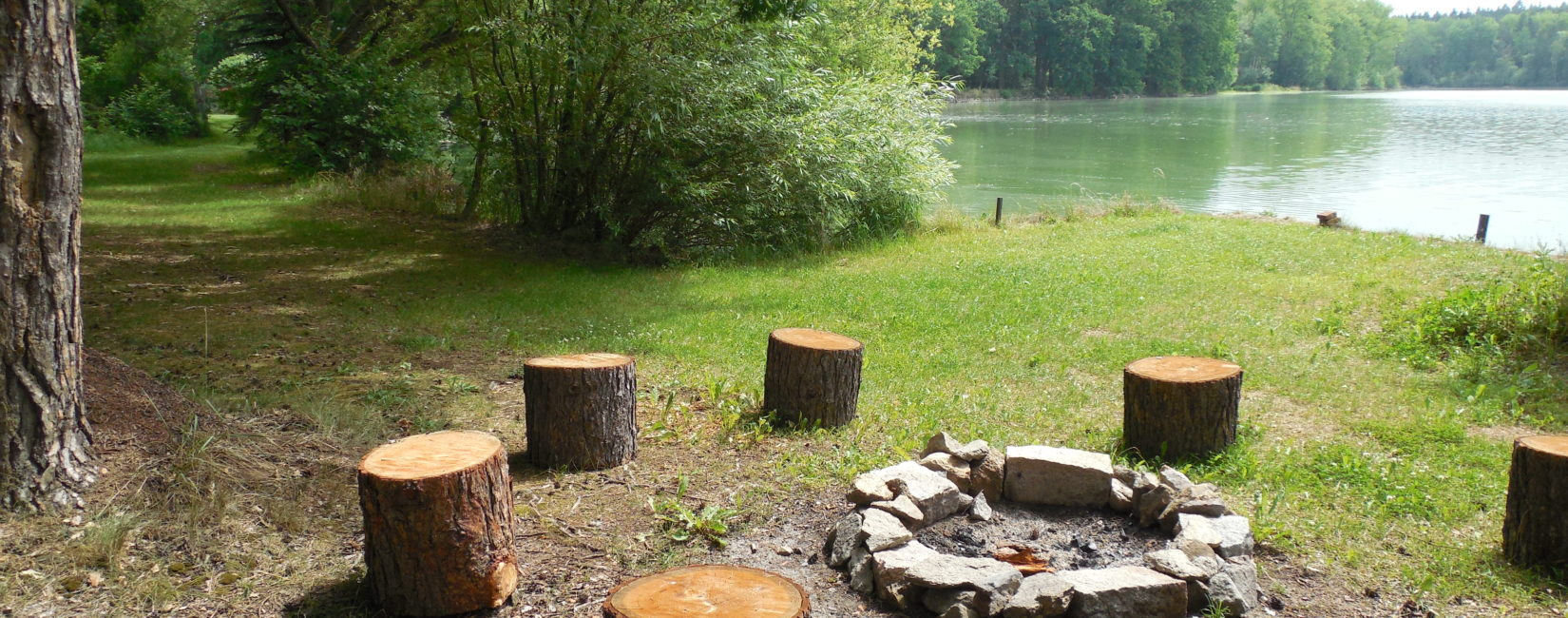 K dispozici je venkovní ohniště s krásným výhledem na rybník
